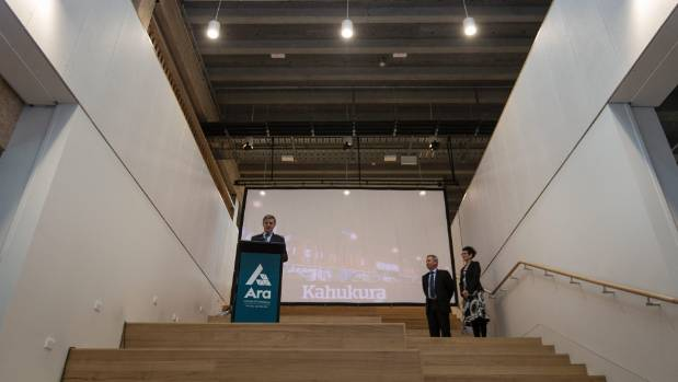 Prime Minister Bill English at the opening of the new Kahukura building at Ara Institute of Canterbury.
