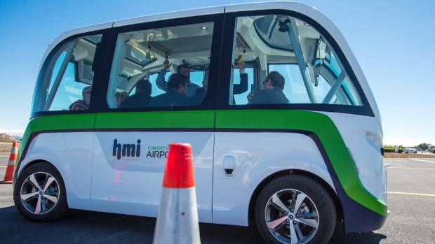 A driver-less electric shuttle is an example of Christchurch airport's commitment to new technology.