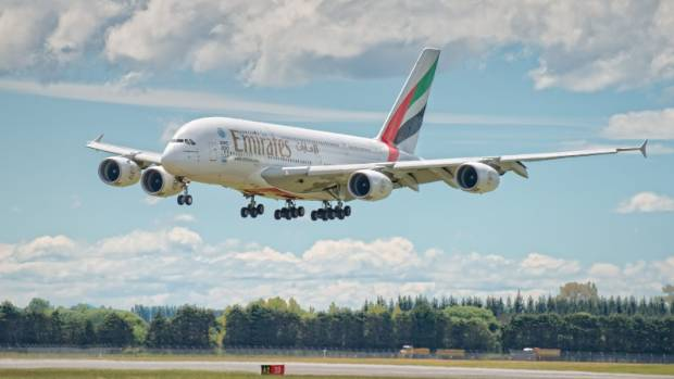 An Emirates A380 coming in to land on a widened runway at Christchurch airport.