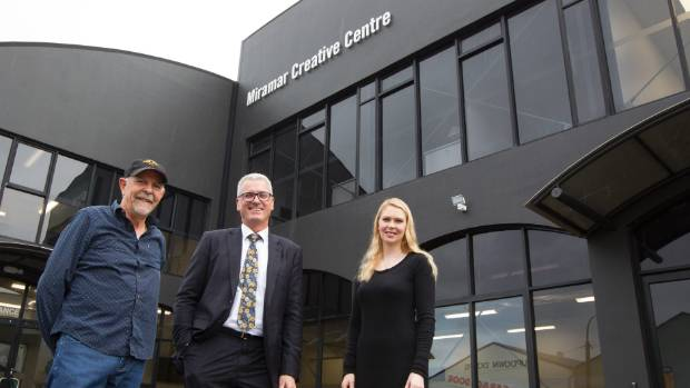 Miramar Creative directors Jamie Selkirk, left, and Kristy Grant, right, and deputy Vice-Chancellor Victoria University ...