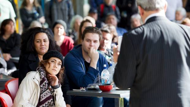 NZ First leader Winston Peters at Waikato University on Thursday gave a speech to a crowd of 200 mainly young people.