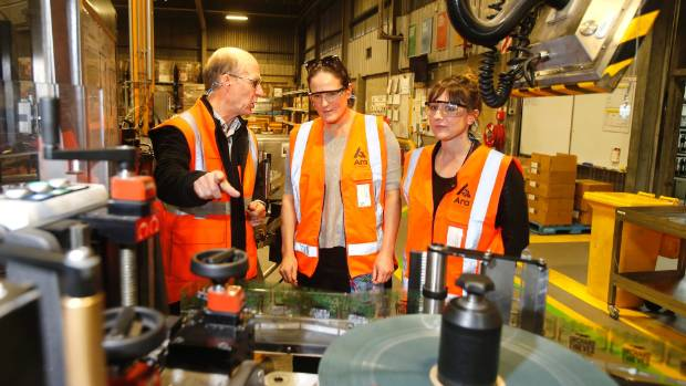 Pictured are Kim Haack, manager of DB Brewries, showing Timaru Girls' High School teachers Deb Hales and Simone Tulley ...