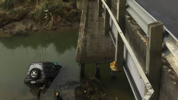 The driver walked away after his vehicle plunged about 10m off a bridge at Whakaki, east of Wairoa.