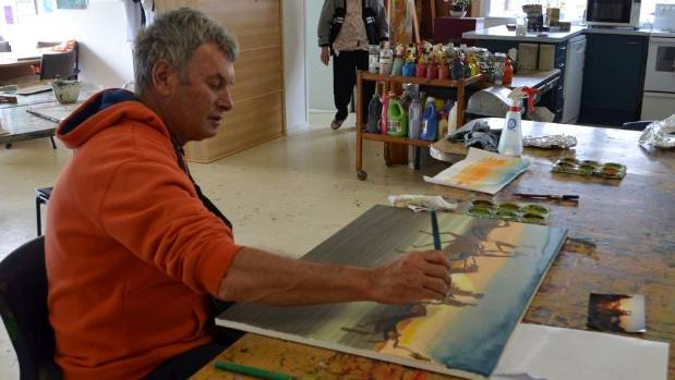 Ross Cowan, who had a stroke in 2015, aged 59, and attends the art therapy programme at Mapura Studios in Auckland.