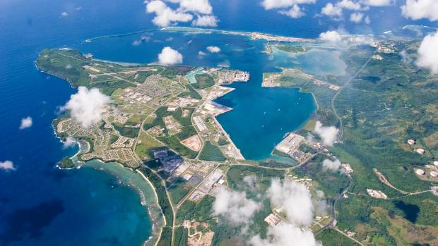 An aerial view of US  Naval Base in Guam.