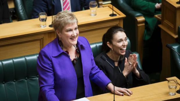 Annette King delivers her valedictory speech in the parliament while Jacinda Ardern cheers on.