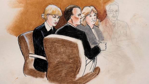 A sketch of Taylor Swift and her lawyers in Denver Federal Court in the US during the trial