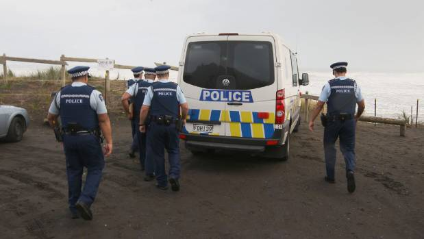 Police at Port Waikato in 2012 after the discovery of Jane Furlong's skeleton.