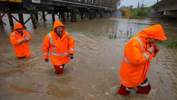 Christchurch City Council staff working in Civil Defence roles during July's flooding of the Heathcote River.
