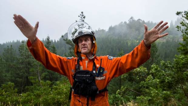 Phil Crutchley, one of CCC's Port Hills and Peninsula Rangers, during the 2017 Port Hills fires.