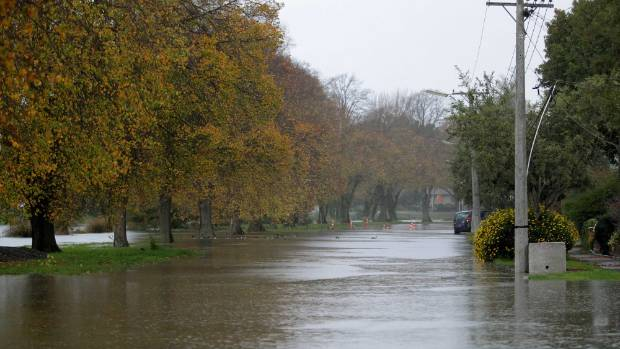 Avonside Dr after heavy rain. The earthquakes altered the water table, making the community prone to flooding.