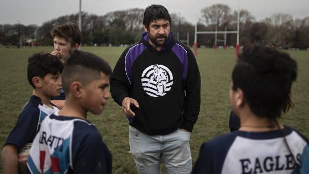 New Southland Rams rugby league coach Te Iwi Wairau coaches school kids in Christchurch.