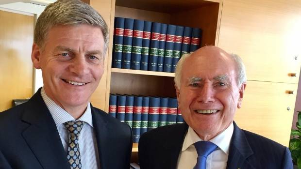 Prime Minister Bill English with former Australian prime minister John Howard (right).  Howard invoked the ANZUS treaty ...