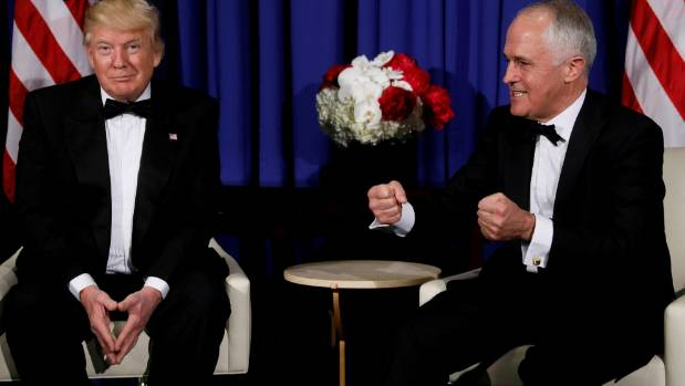 US President Donald Trump (left) with Australia's Prime Minister Malcolm Turnbull in New York.