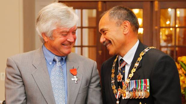 Former governor general Sir Jerry Mateparae makes Roger Gascoigne a Member of the NZ Order of Merit for services to ...