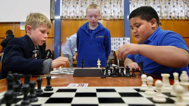 Waihi College pupil Will Saunders, left, plays Fenwick School pupil Andrew Kaufana, while Fenwick School pupil Hamish ...