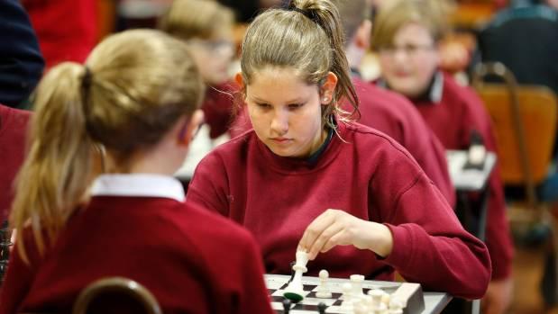St Joseph's School Timaru pupil Louisa Stuart, left, plays Gleniti School pupil Stephanie Bromley.