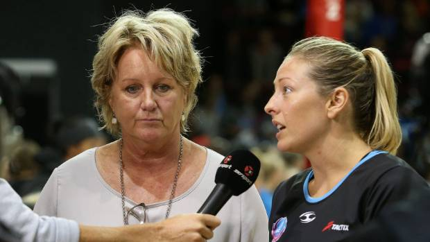 Anna Thompson puts on a brave face during an interview after another Tactix loss, while former coach Sue Hawkins looks on.