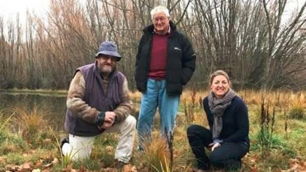 Otematata Wetlands Walkway volunteers Peter Kirk, left, and Graham Sullivan with Upper Waitaki Water Zone Committee ...