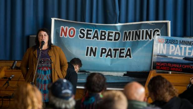 Debbie Ngarewa-Packer speaks to supporters at Patea School after the sea bed mining decision was released.