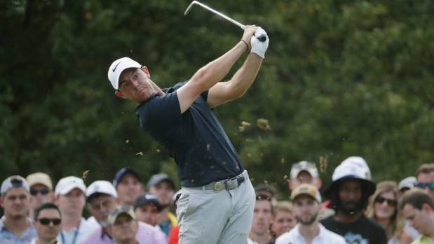 Northern Ireland's Rory Mc Ilroy plays his shot from the 13th tee in the first round of the PGA Championship at Quail Hollow