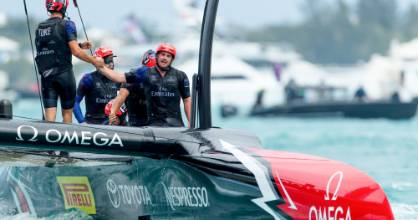Team New Zealand crewman Joseph Sullivan, of Picton, celebrates a victory in the America's Cup. (File photo)