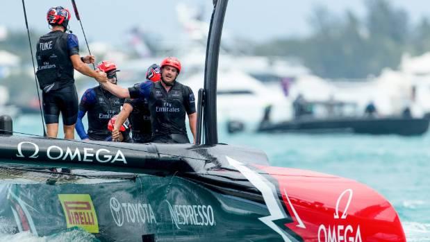 Team New Zealand crewman Joseph Sullivan, of Picton, celebrates a victory in the America's Cup. (File photo)