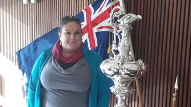 Waikawa Boating Club rear commodore sailing Anna Gibbs with the Auld Mug in Wellington last month.