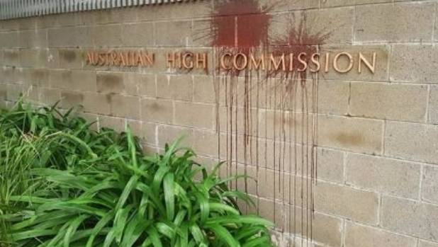 On Thursday, the Australian High Commission in Wellington was targeted with a red substance over the latest death in ...