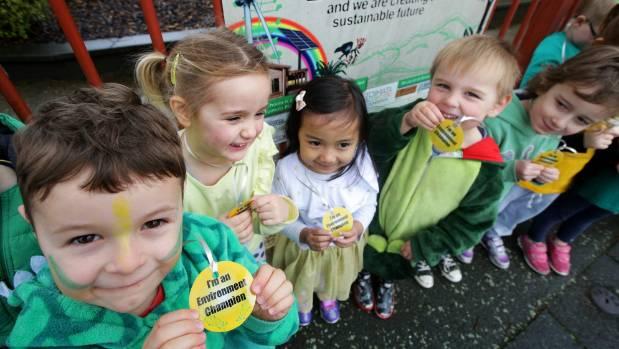 Waverley Kindergarten pupils, from left, Archie Cameron, Lily Mead, Samaira Mohammad Firdaus, Lewis Muir, and Harpur ...