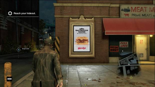 Wendy's billboard within a game - only the burgers are real.
