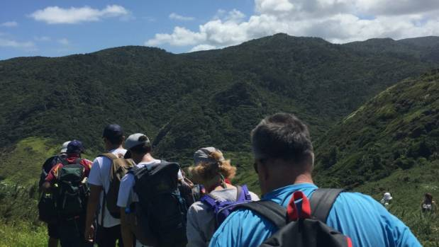 High school students on a tramping expedition to Whatipu in the Waitakere Ranges.