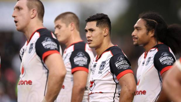 Roger Tuivasa-Sheck (C) has had to learn some harsh lessons in his first year as Warriors captain.