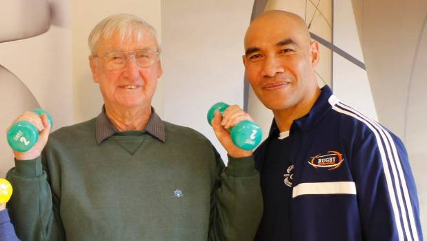 Alex Telea (right) launch a fitness programme at the Bob Scott Retirement Village with Les Everson.