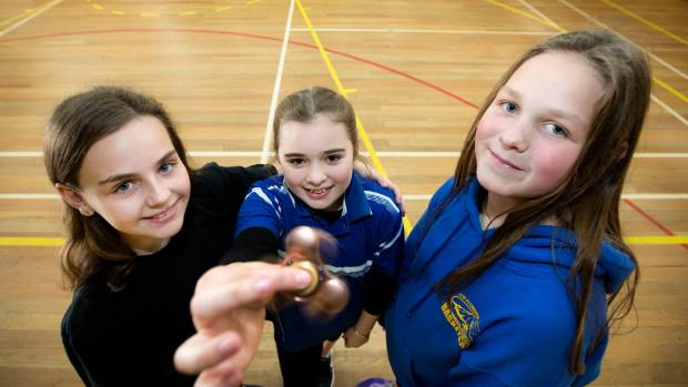 From left: Penny Hambling, Tessa Georgeson  and Jade Hassall, all 12, with their fidget spinners following Bell Block ...