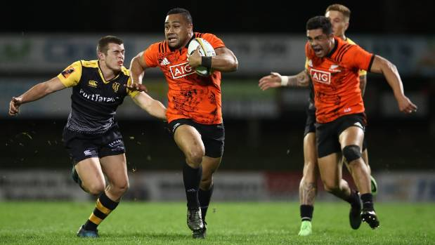 Ngani Laumape on the break for the All Blacks against Taranaki in the ''game of three halves'' in Pukekohe.
