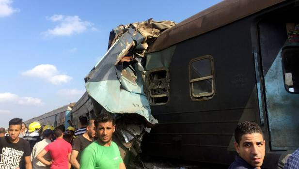 The damaged carriage after two trains collided near the Khorshid station in Egypt's coastal city of Alexandria.