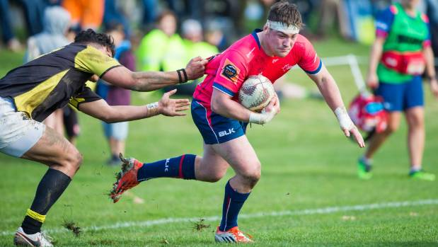 Makos' flanker Braden Stewart tries to shrug clear of an attempted tackle by a Wellington player at Seddon on Thursday.