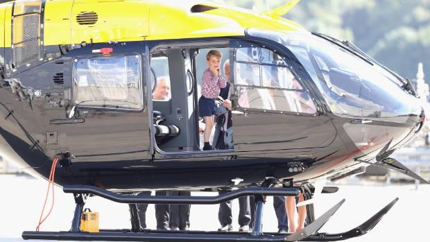 Prince George checks out the helicopter.