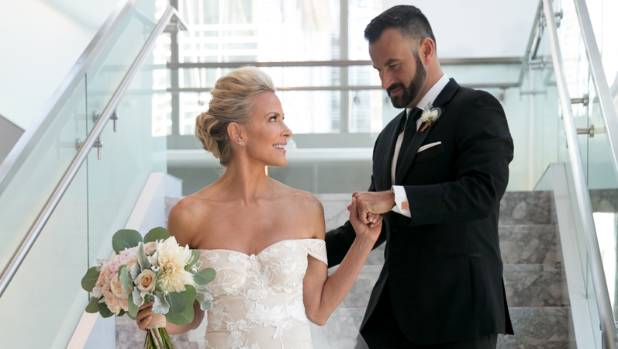 The newly-wed couple: Brittany Daniel and Adam Touni.