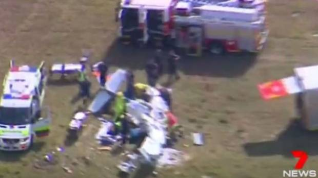 Emergency services respond to a light plane crash at Caloundra Airport on Queensland's Sunshine Coast.
