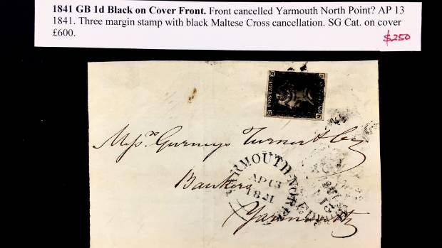A penny black stamp on a cover with a market price of £600 (NZ$1059) had a price tag of $250 at Alan Craig's booth.