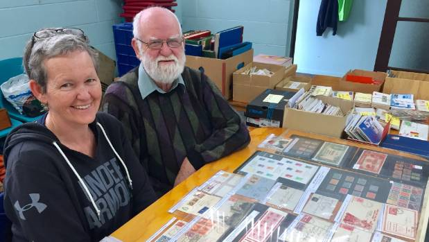 Kirsten Craig and father Alan Craig travelled from Hamilton to sell stamps and covers.