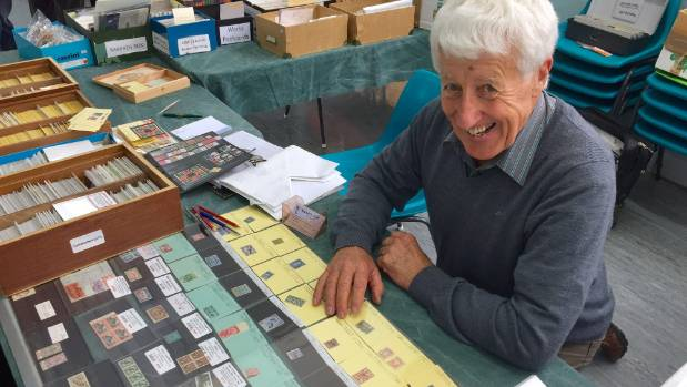 Warwick Jost was downsizing his collection of stamps at the annual Taranaki Philatelic Society stamp fair.