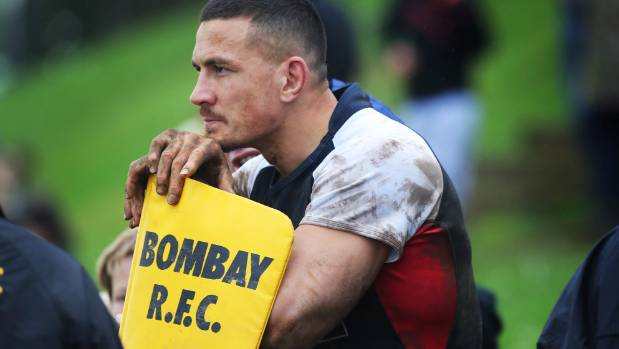 Sonny Bill Williams comes off the field after being in action for Counties B at Bombay Rugby Club in his first game