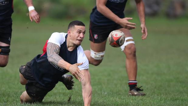 Sonny Bill Williams in action for Counties B at Bombay Rugby Club in his first game back from his suspension after