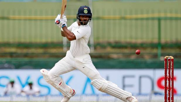 India's Shikhar Dhawan hit 17 fours in his 123-ball innings before he was dismissed for 119.