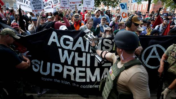 Members of white nationalists are met by a group of counter-protesters in Charlottesville, Virginia.