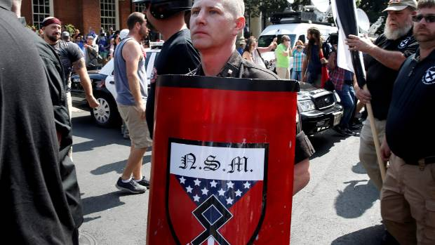 A white supremacist arrives at a rally in Charlottesville, Virginia, US.