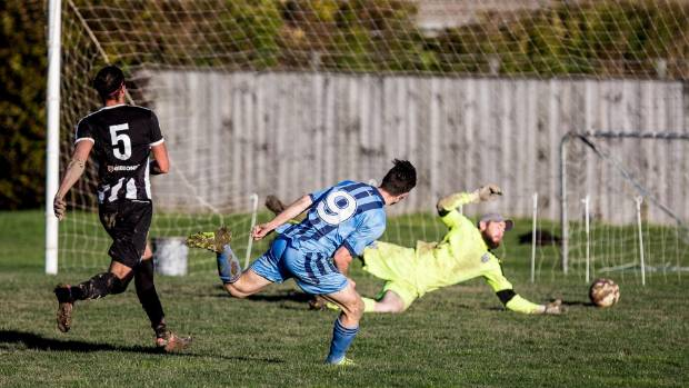 Nelson College striker Alex Connor-McClean scores his second goal.